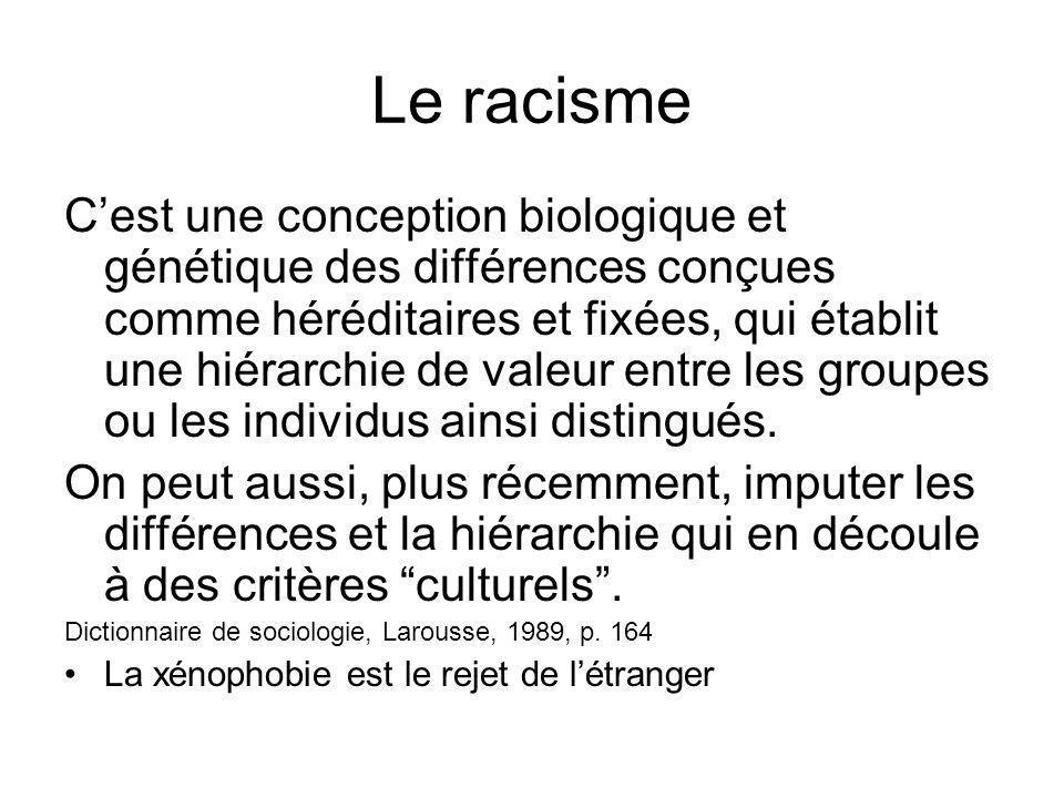 Le racisme Cest une conception biologique et génétique des différences conçues comme héréditaires et fixées, qui établit une hiérarchie de valeur entr