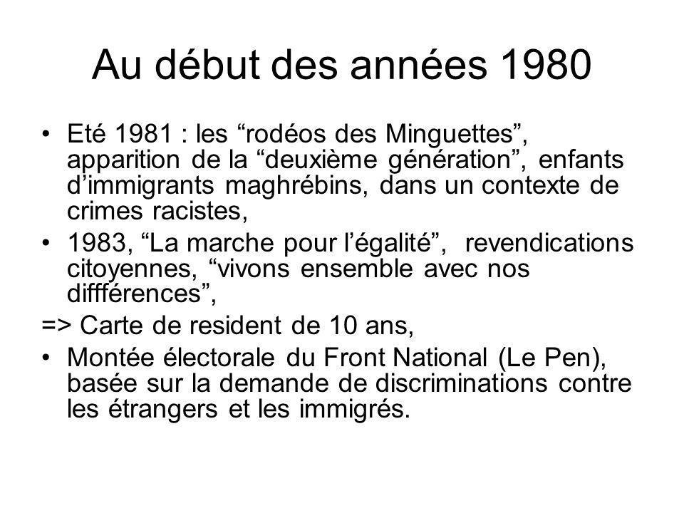 Au début des années 1980 Eté 1981 : les rodéos des Minguettes, apparition de la deuxième génération, enfants dimmigrants maghrébins, dans un contexte