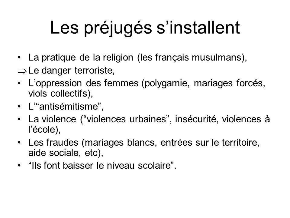 Les préjugés sinstallent La pratique de la religion (les français musulmans), Le danger terroriste, Loppression des femmes (polygamie, mariages forcés