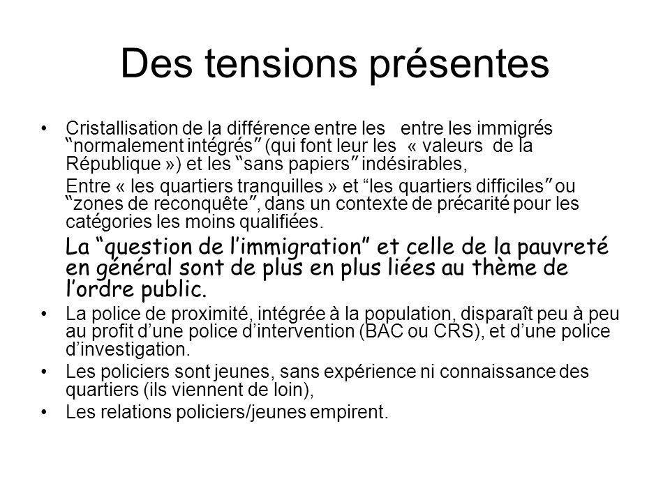 Des tensions présentes Cristallisation de la différence entre les entre les immigr é s normalement int é gr é s (qui font leur les « valeurs de la Rép