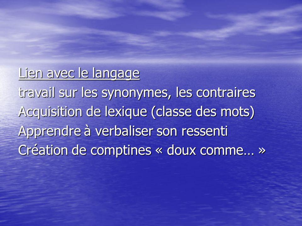 Lien avec le langage travail sur les synonymes, les contraires Acquisition de lexique (classe des mots) Apprendre à verbaliser son ressenti Création d