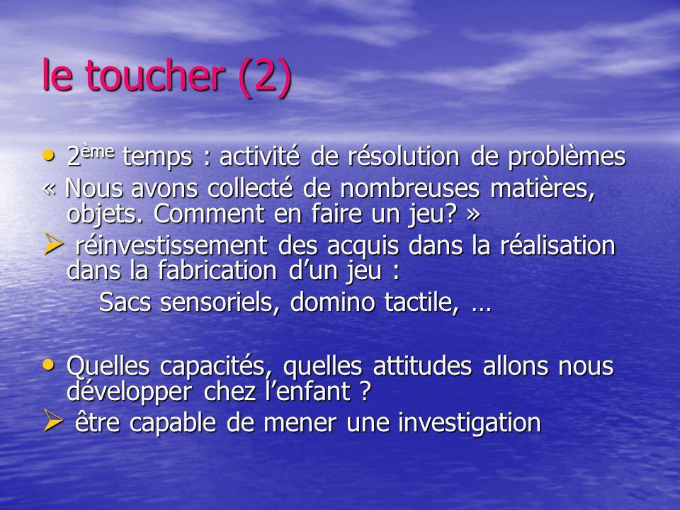 le toucher (2) 2 ème temps : activité de résolution de problèmes 2 ème temps : activité de résolution de problèmes « Nous avons collecté de nombreuses