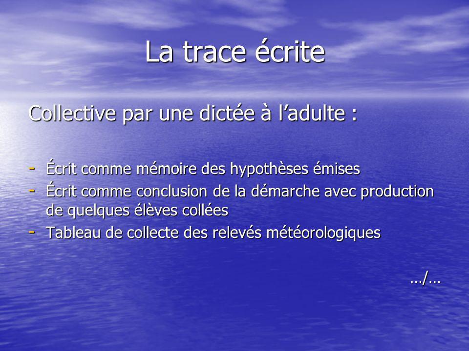La trace écrite Collective par une dictée à ladulte : - Écrit comme mémoire des hypothèses émises - Écrit comme conclusion de la démarche avec product