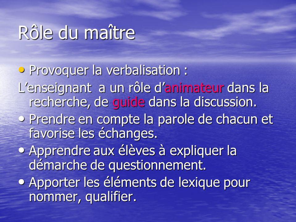 Rôle du maître Provoquer la verbalisation : Provoquer la verbalisation : Lenseignant a un rôle danimateur dans la recherche, de guide dans la discussi
