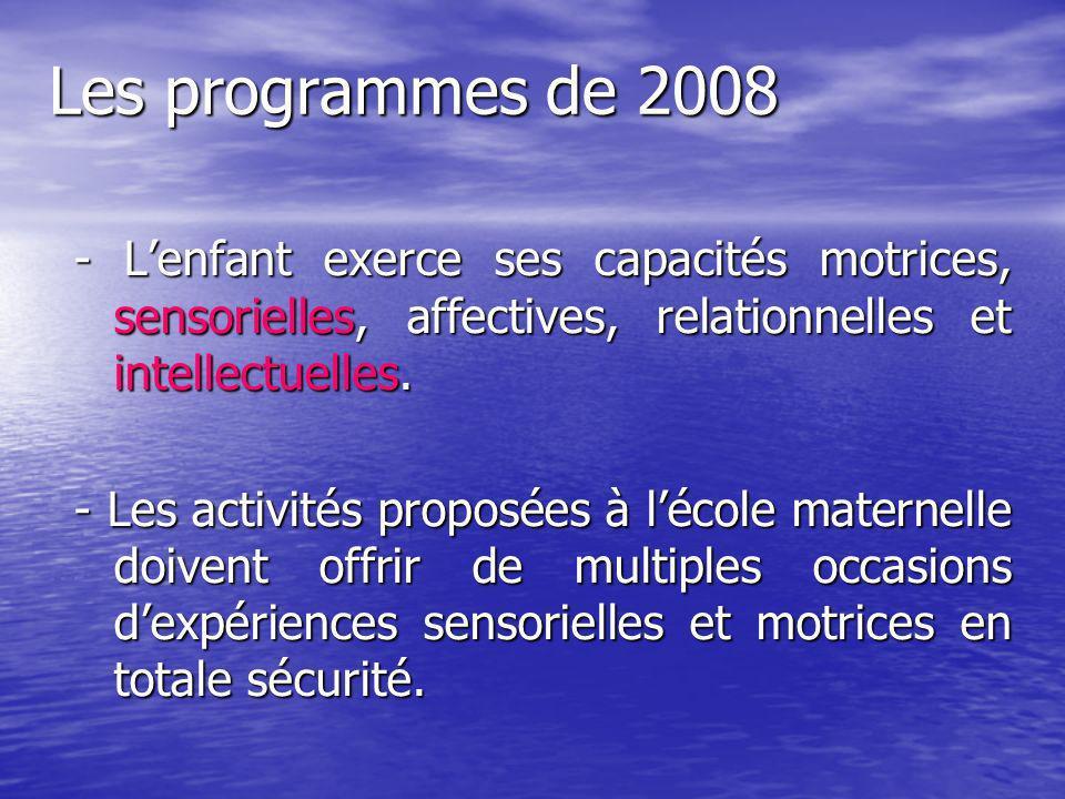 Les programmes de 2008 - Lenfant exerce ses capacités motrices, sensorielles, affectives, relationnelles et intellectuelles. - Les activités proposées