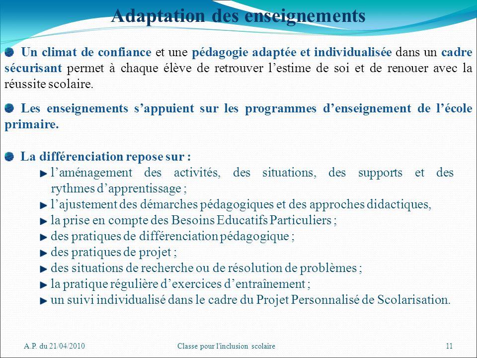 A.P. du 21/04/2010Classe pour l'inclusion scolaire11 Adaptation des enseignements Un climat de confiance et une pédagogie adaptée et individualisée da