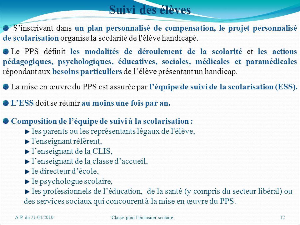 A.P. du 21/04/2010Classe pour l'inclusion scolaire12 Suivi des élèves Sinscrivant dans un plan personnalisé de compensation, le projet personnalisé de