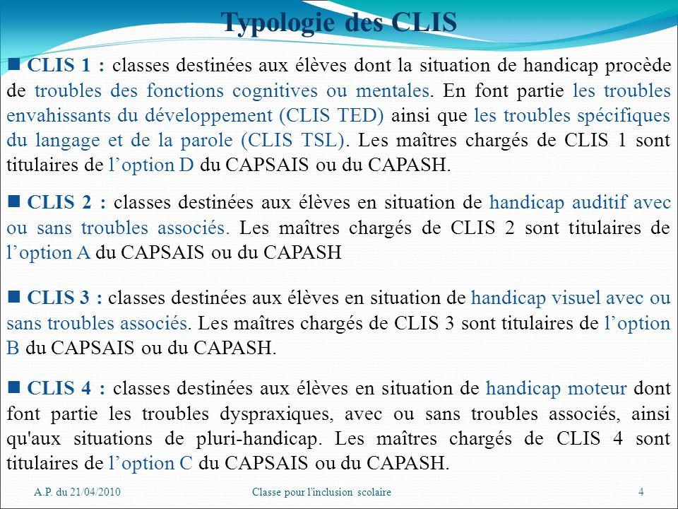 A.P. du 21/04/2010Classe pour l'inclusion scolaire4 Typologie des CLIS CLIS 1 : classes destinées aux élèves dont la situation de handicap procède de