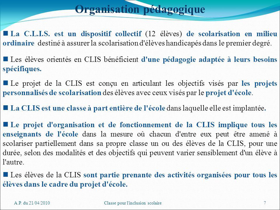 A.P. du 21/04/2010Classe pour l'inclusion scolaire7 Organisation pédagogique La C.L.I.S. est un dispositif collectif (12 élèves) de scolarisation en m