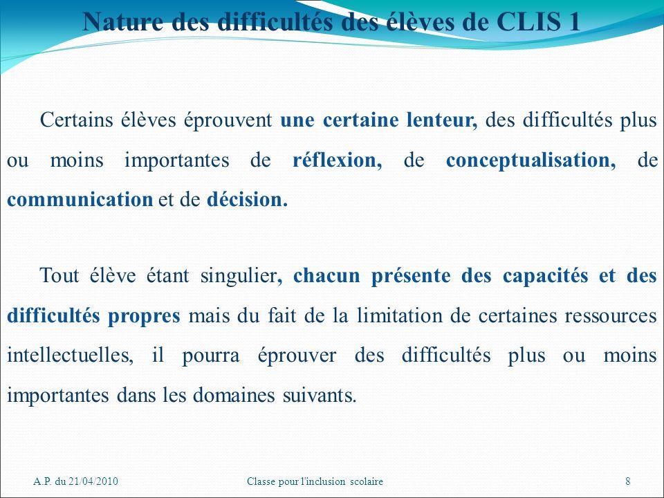A.P. du 21/04/2010Classe pour l'inclusion scolaire8 Nature des difficultés des élèves de CLIS 1 Certains élèves éprouvent une certaine lenteur, des di