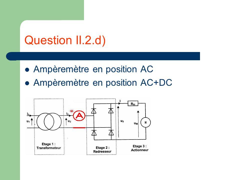 Question II.2.d) Ampèremètre en position AC Ampèremètre en position AC+DC