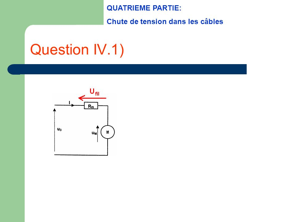 Question IV.1) QUATRIEME PARTIE: Chute de tension dans les câbles
