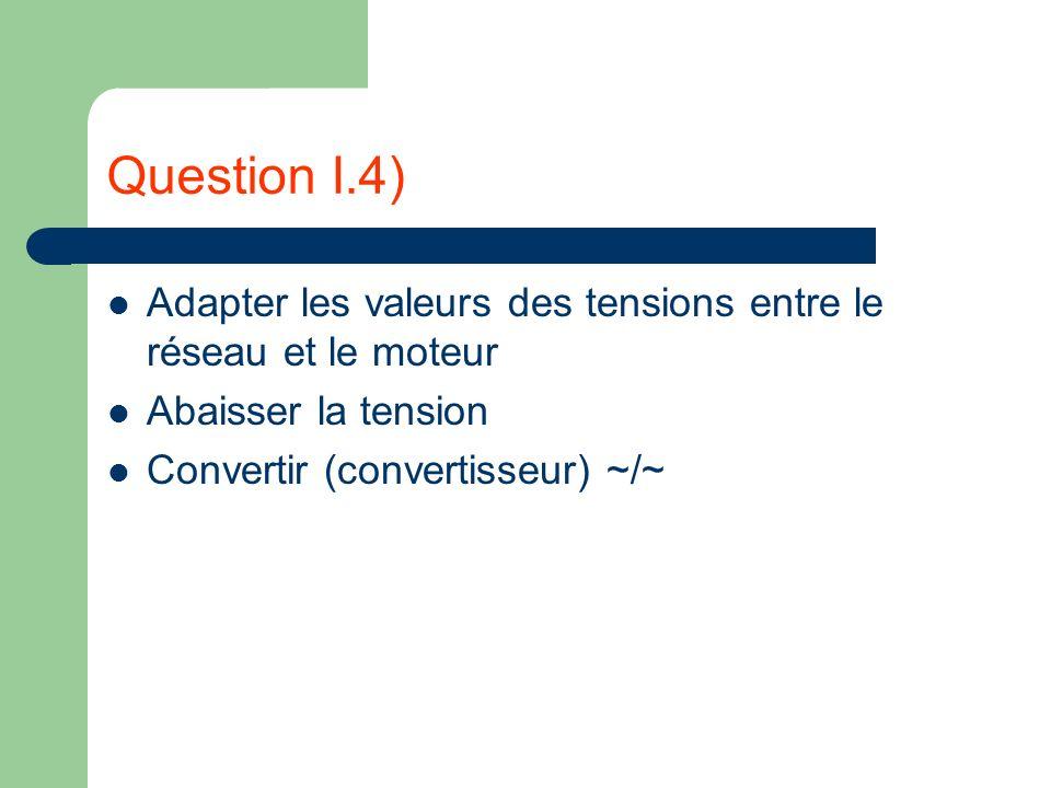 Question I.4) Adapter les valeurs des tensions entre le réseau et le moteur Abaisser la tension Convertir (convertisseur) ~/~