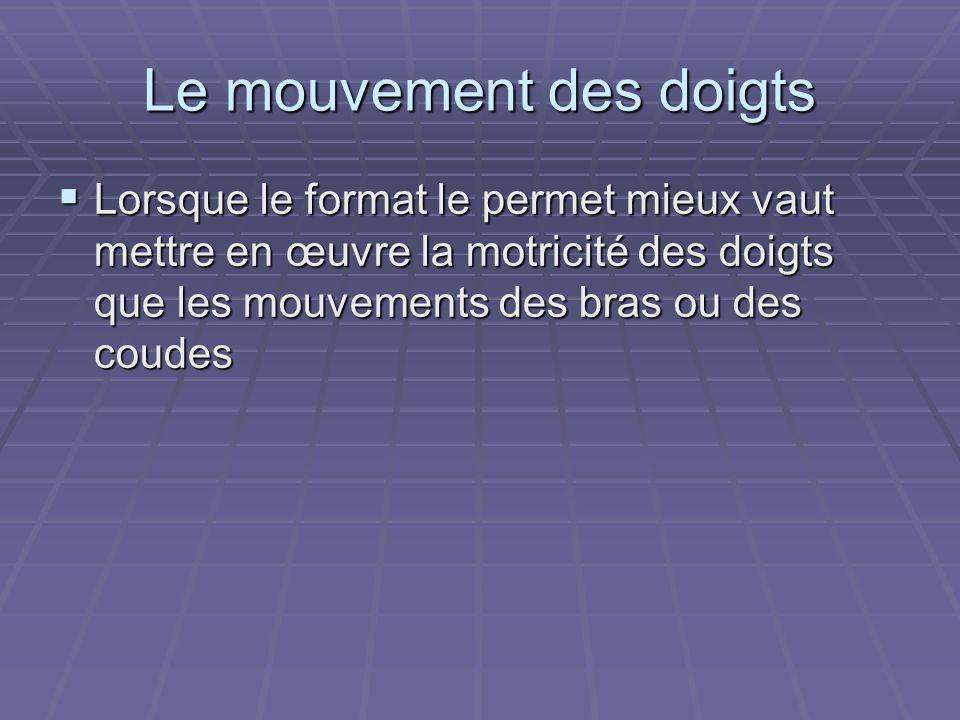 Le mouvement des doigts Lorsque le format le permet mieux vaut mettre en œuvre la motricité des doigts que les mouvements des bras ou des coudes Lorsq