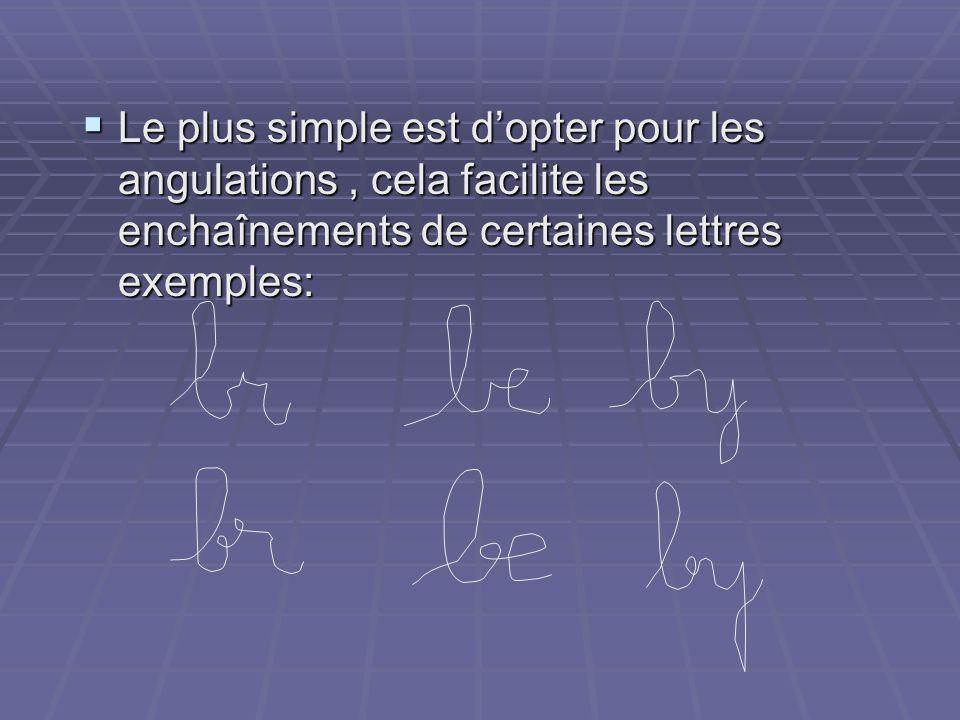 Le plus simple est dopter pour les angulations, cela facilite les enchaînements de certaines lettres exemples: Le plus simple est dopter pour les angu