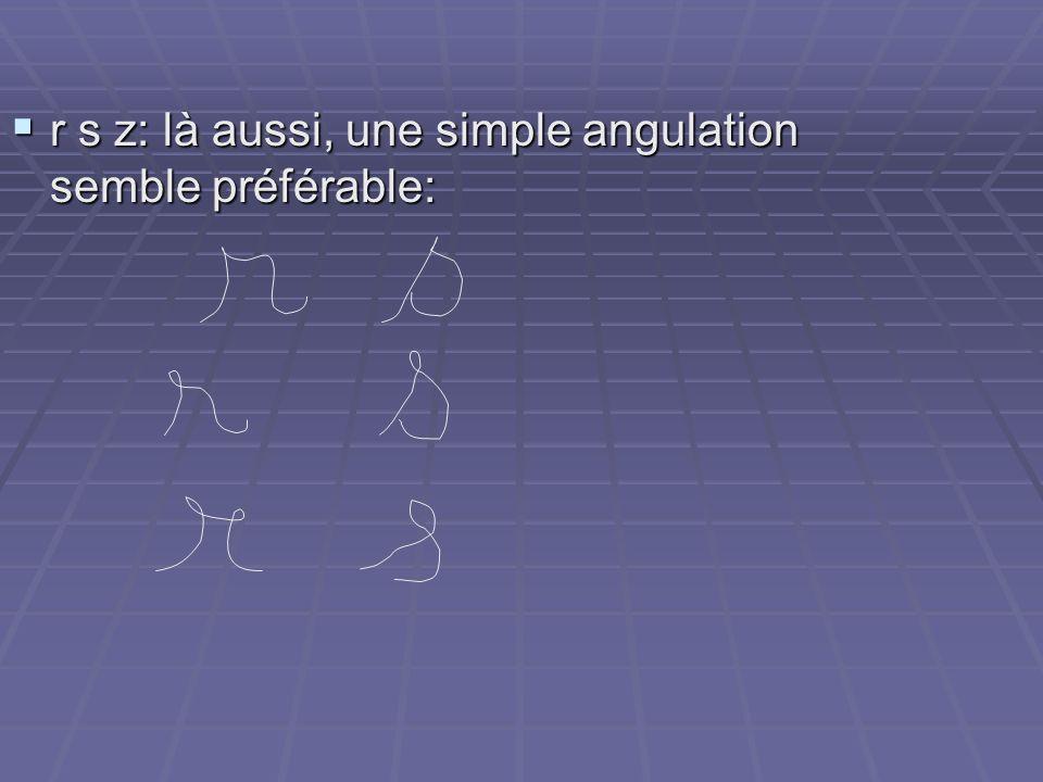 r s z: là aussi, une simple angulation semble préférable: r s z: là aussi, une simple angulation semble préférable: