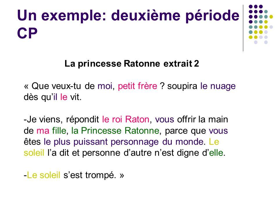 Un exemple: deuxième période CP La princesse Ratonne extrait 2 « Que veux-tu de moi, petit frère ? soupira le nuage dès quil le vit. -Je viens, répond