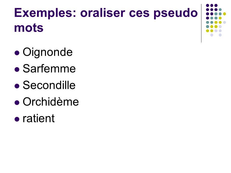 Exemples: oraliser ces pseudo mots Oignonde Sarfemme Secondille Orchidème ratient