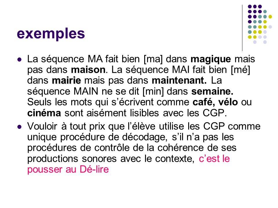 exemples mairie La séquence MA fait bien [ma] dans magique mais pas dans maison.