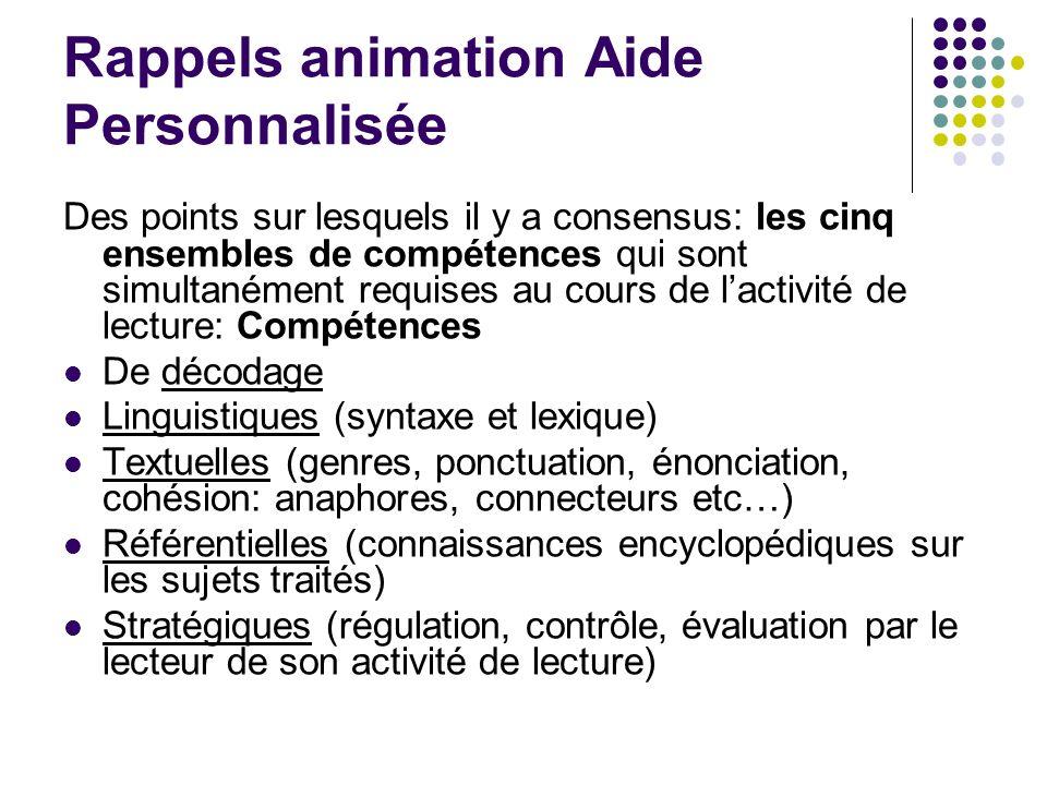 Rappels animation Aide Personnalisée Des points sur lesquels il y a consensus: les cinq ensembles de compétences qui sont simultanément requises au co