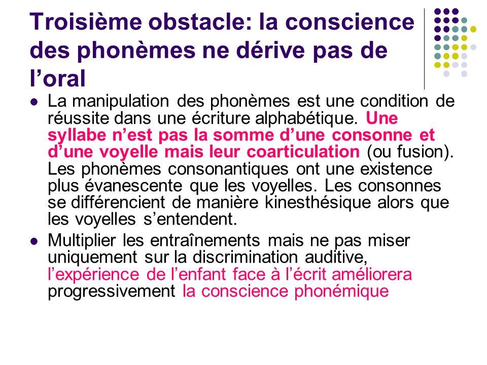 Troisième obstacle: la conscience des phonèmes ne dérive pas de loral La manipulation des phonèmes est une condition de réussite dans une écriture alphabétique.