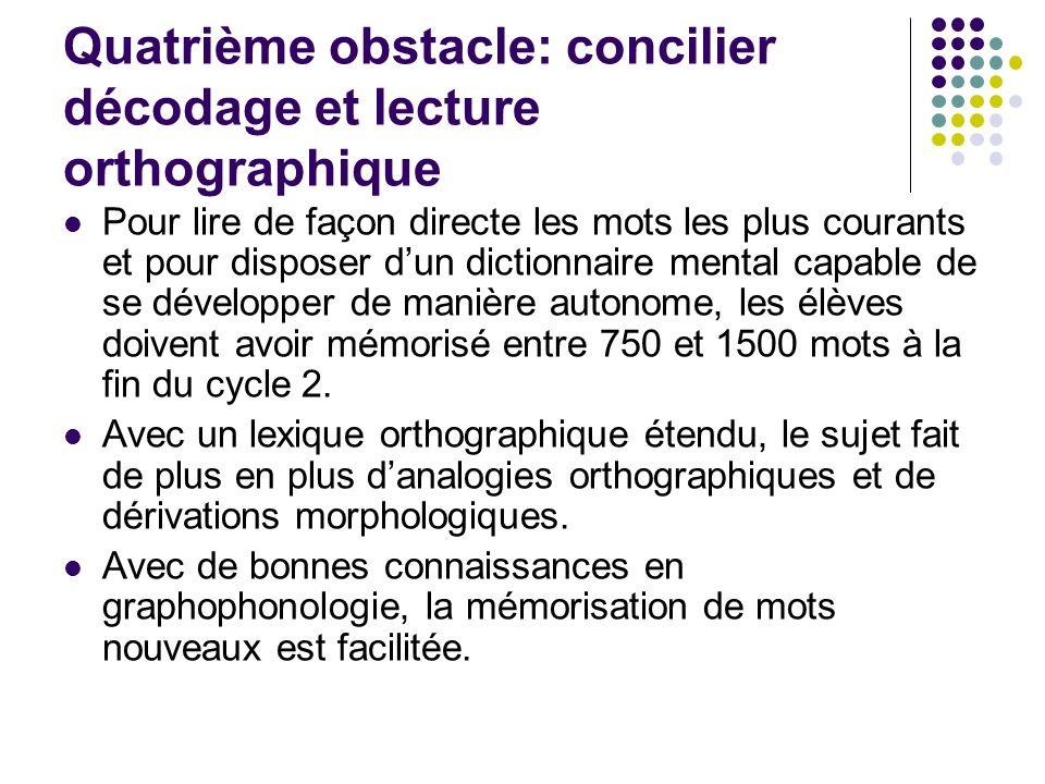 Quatrième obstacle: concilier décodage et lecture orthographique Pour lire de façon directe les mots les plus courants et pour disposer dun dictionnai