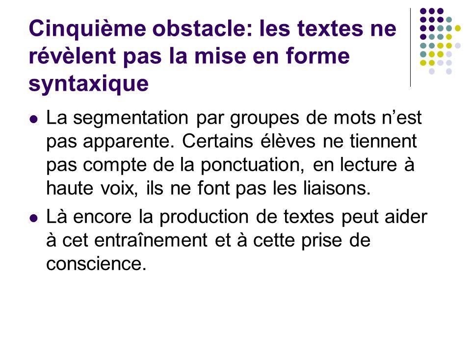 Cinquième obstacle: les textes ne révèlent pas la mise en forme syntaxique La segmentation par groupes de mots nest pas apparente. Certains élèves ne