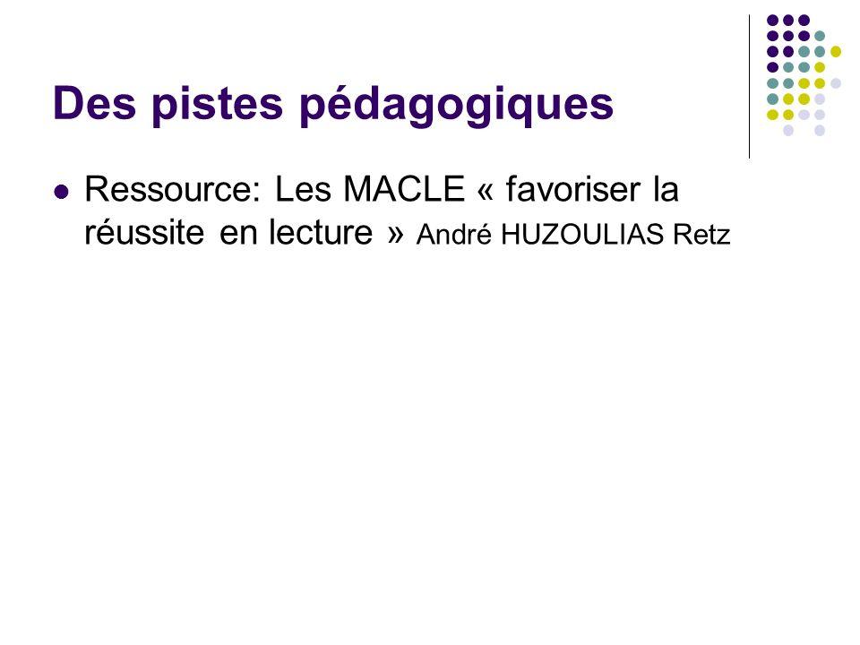 Des pistes pédagogiques Ressource: Les MACLE « favoriser la réussite en lecture » André HUZOULIAS Retz
