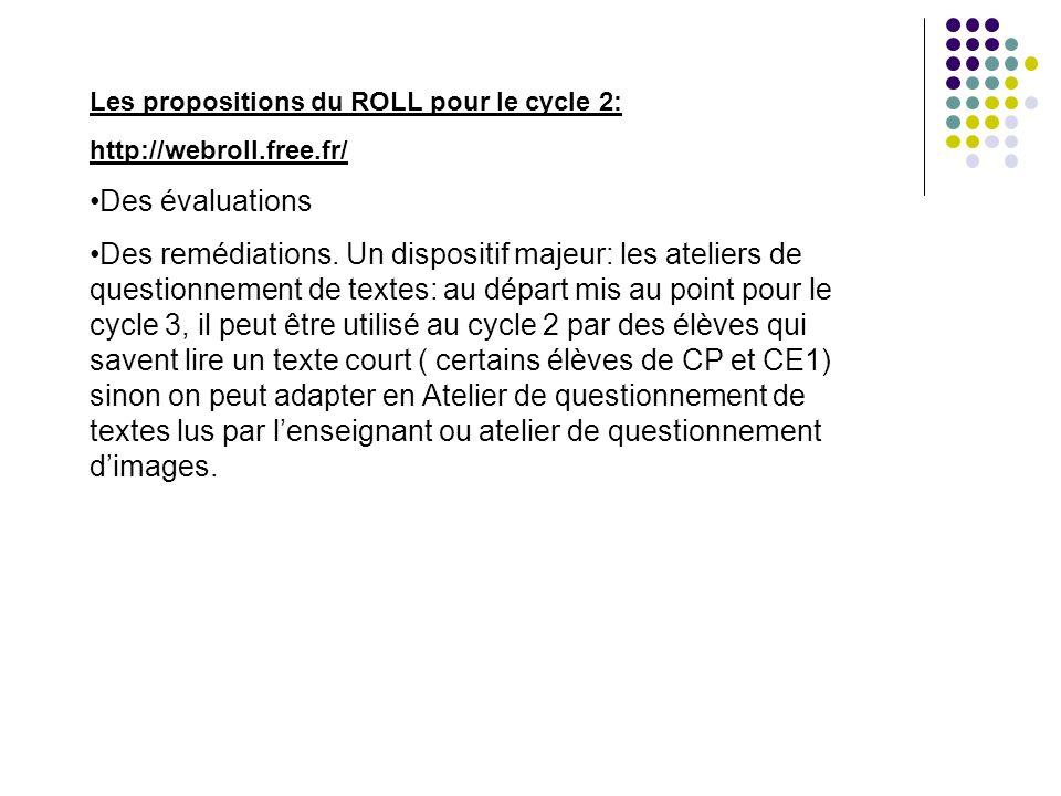 Les propositions du ROLL pour le cycle 2: http://webroll.free.fr/ Des évaluations Des remédiations. Un dispositif majeur: les ateliers de questionneme