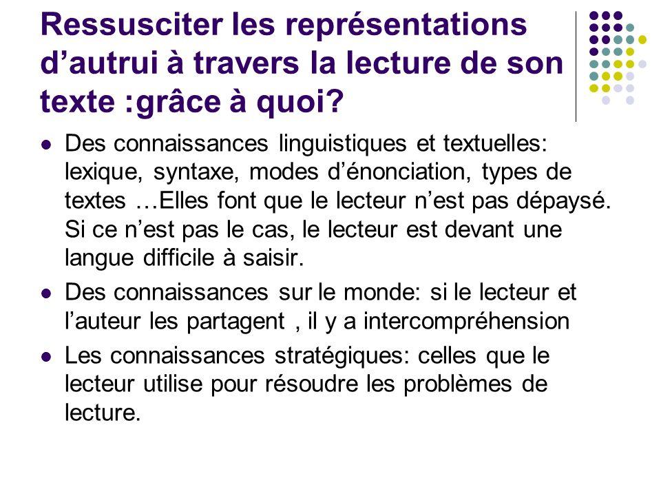 Ressusciter les représentations dautrui à travers la lecture de son texte :grâce à quoi? Des connaissances linguistiques et textuelles: lexique, synta