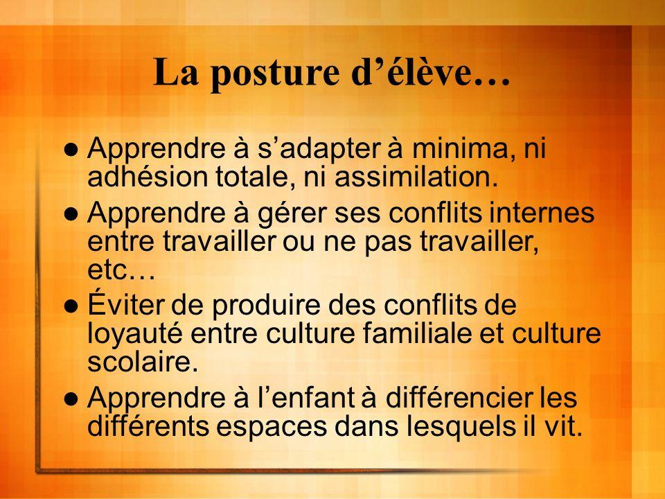 La posture délève… Apprendre à sadapter à minima, ni adhésion totale, ni assimilation. Apprendre à gérer ses conflits internes entre travailler ou ne