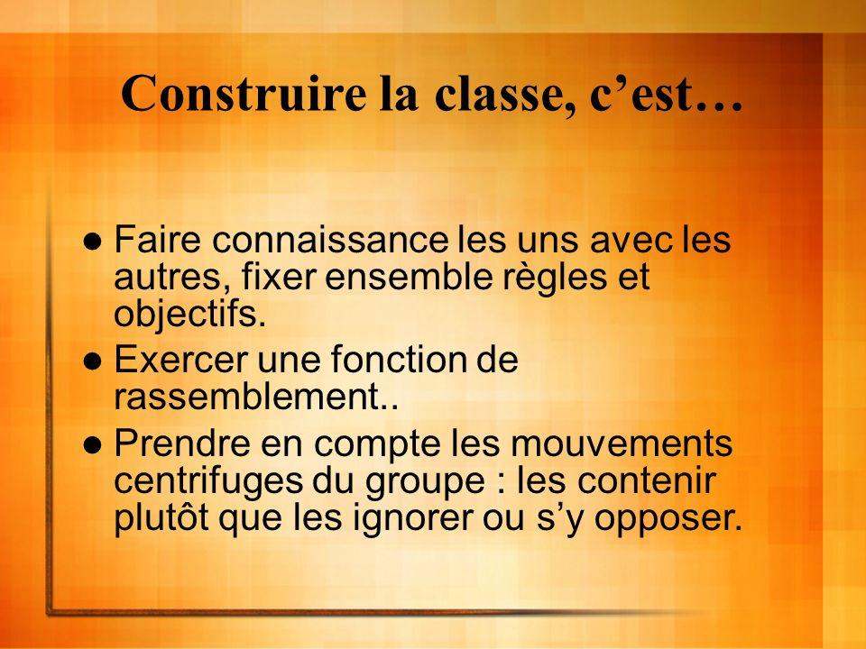 Construire la classe, cest… Faire connaissance les uns avec les autres, fixer ensemble règles et objectifs. Exercer une fonction de rassemblement.. Pr