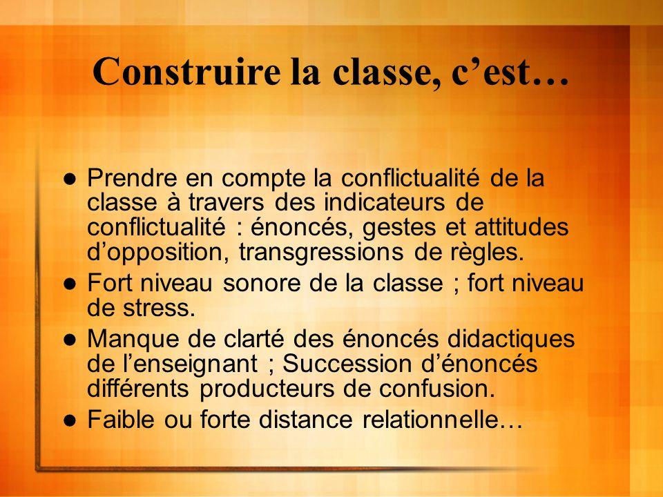 Construire la classe, cest… Prendre en compte la conflictualité de la classe à travers des indicateurs de conflictualité : énoncés, gestes et attitudes dopposition, transgressions de règles.
