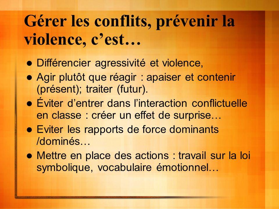Gérer les conflits, prévenir la violence, cest… Différencier agressivité et violence, Agir plutôt que réagir : apaiser et contenir (présent); traiter