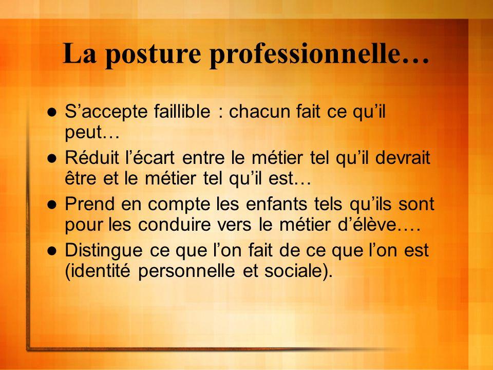 La posture professionnelle… Saccepte faillible : chacun fait ce quil peut… Réduit lécart entre le métier tel quil devrait être et le métier tel quil e