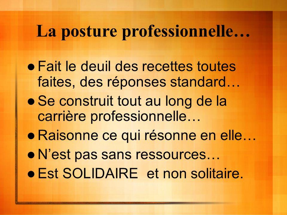 La posture professionnelle… Fait le deuil des recettes toutes faites, des réponses standard… Se construit tout au long de la carrière professionnelle…