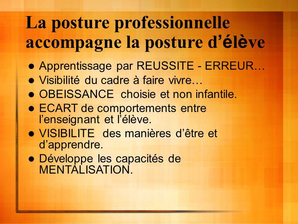 La posture professionnelle accompagne la posture d é l è ve Apprentissage par REUSSITE - ERREUR… Visibilité du cadre à faire vivre… OBEISSANCE choisie et non infantile.