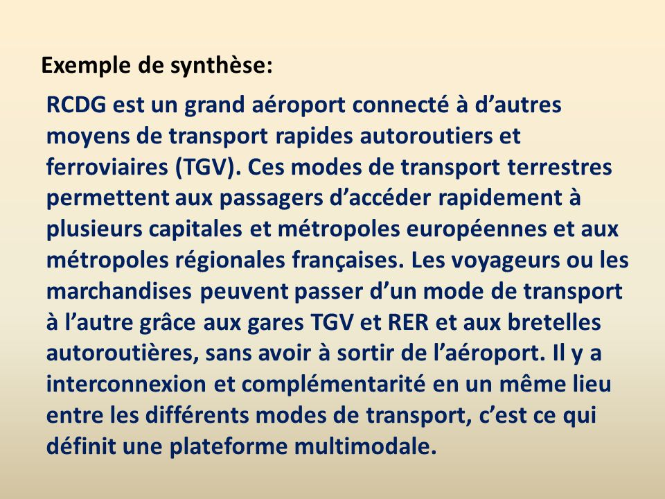 Exemple de synthèse: RCDG est un grand aéroport connecté à dautres moyens de transport rapides autoroutiers et ferroviaires (TGV). Ces modes de transp