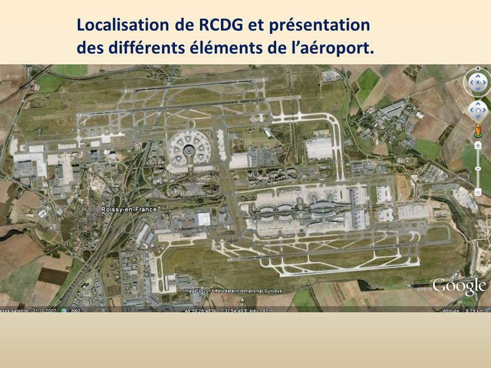 Localisation de RCDG et présentation des différents éléments de laéroport.