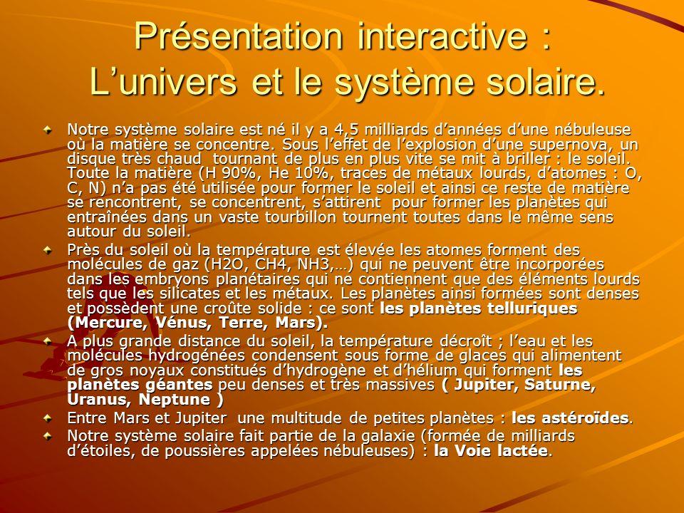 Présentation interactive : Lunivers et le système solaire. Notre système solaire est né il y a 4,5 milliards dannées dune nébuleuse où la matière se c