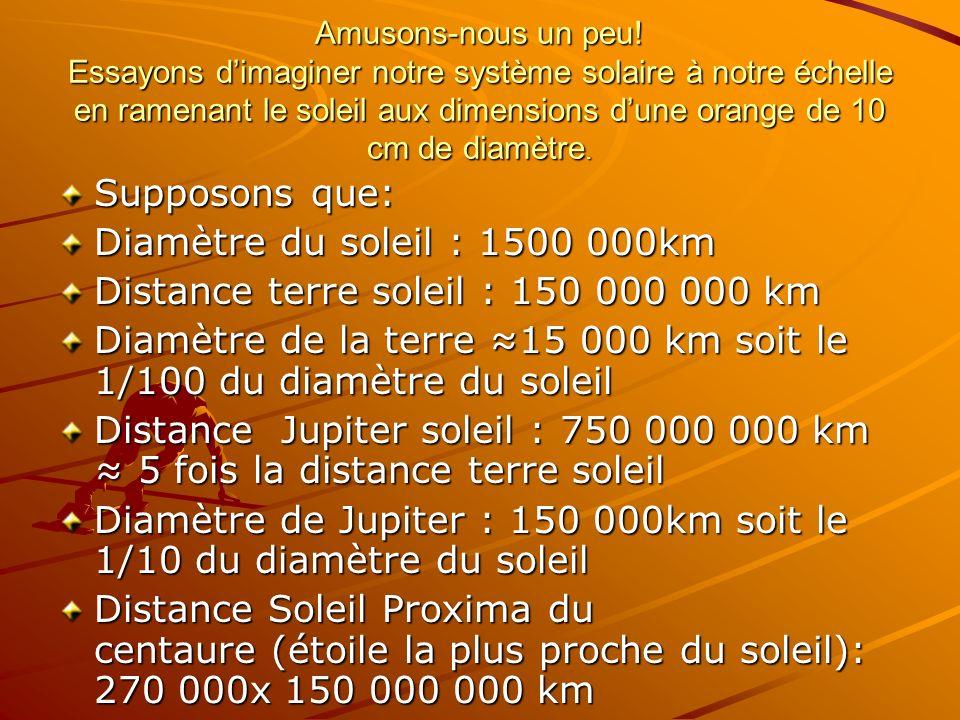 Amusons-nous un peu! Essayons dimaginer notre système solaire à notre échelle en ramenant le soleil aux dimensions dune orange de 10 cm de diamètre. S