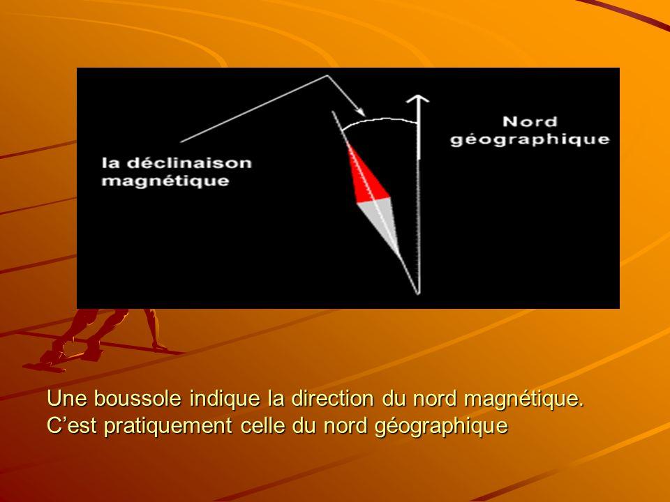 Une boussole indique la direction du nord magnétique. Cest pratiquement celle du nord géographique