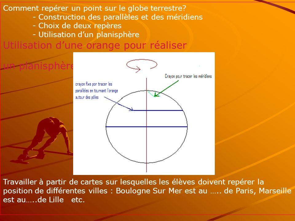 Comment repérer un point sur le globe terrestre? - Construction des parallèles et des méridiens - Choix de deux repères - Utilisation dun planisphère