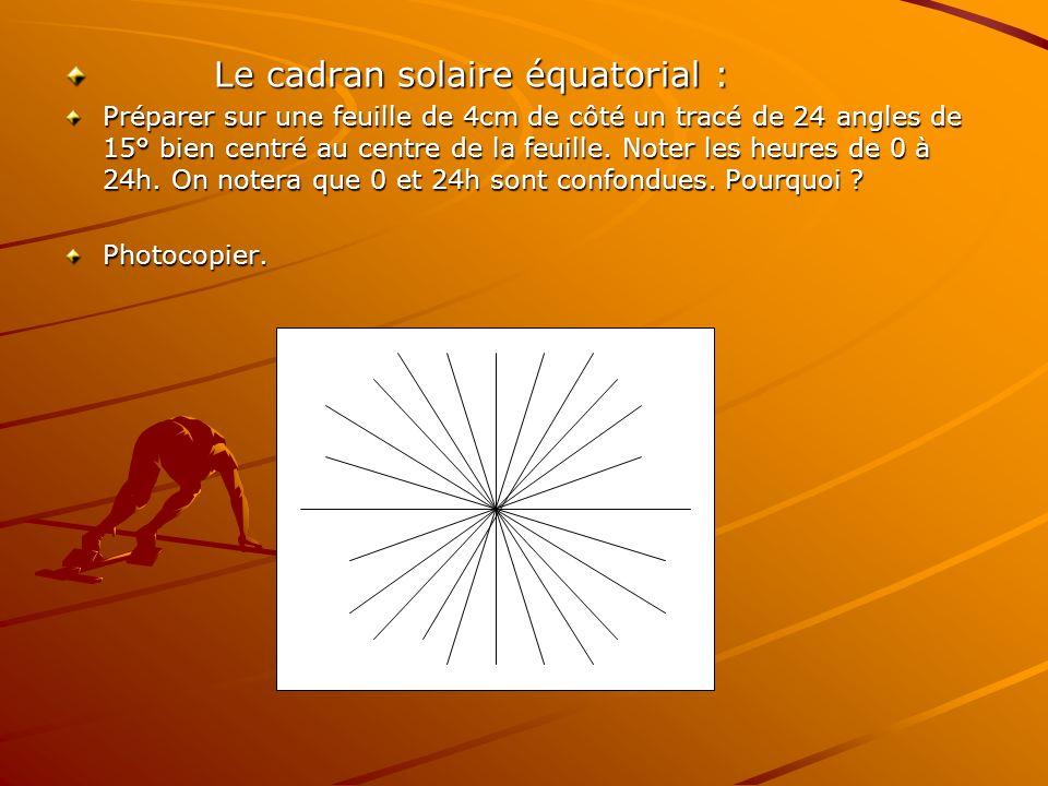Le cadran solaire équatorial : Préparer sur une feuille de 4cm de côté un tracé de 24 angles de 15° bien centré au centre de la feuille. Noter les heu