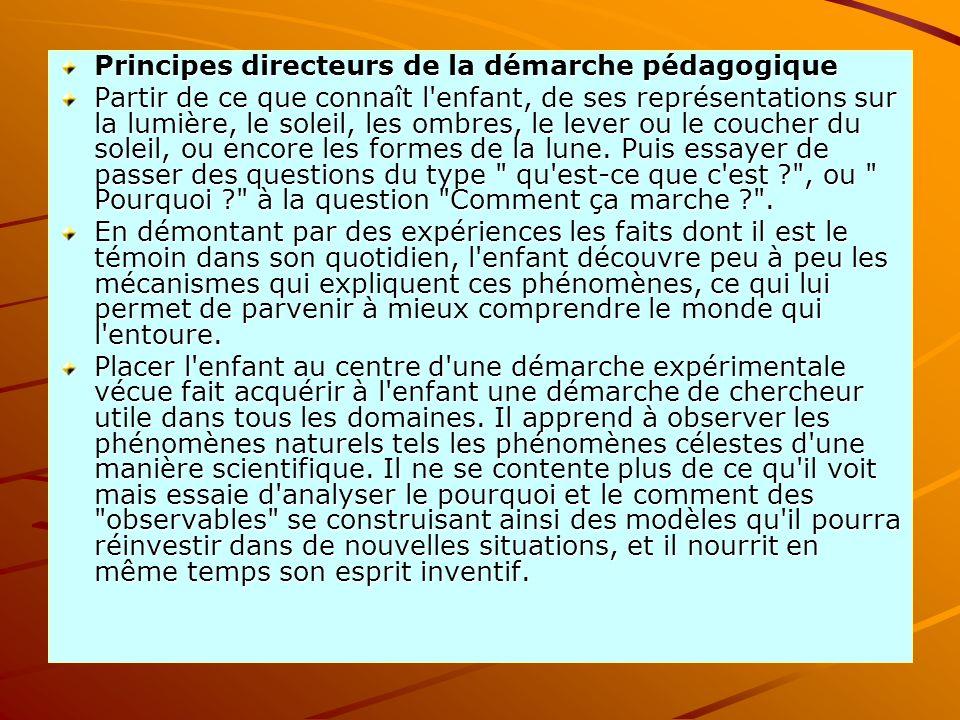Principes directeurs de la démarche pédagogique Partir de ce que connaît l'enfant, de ses représentations sur la lumière, le soleil, les ombres, le le