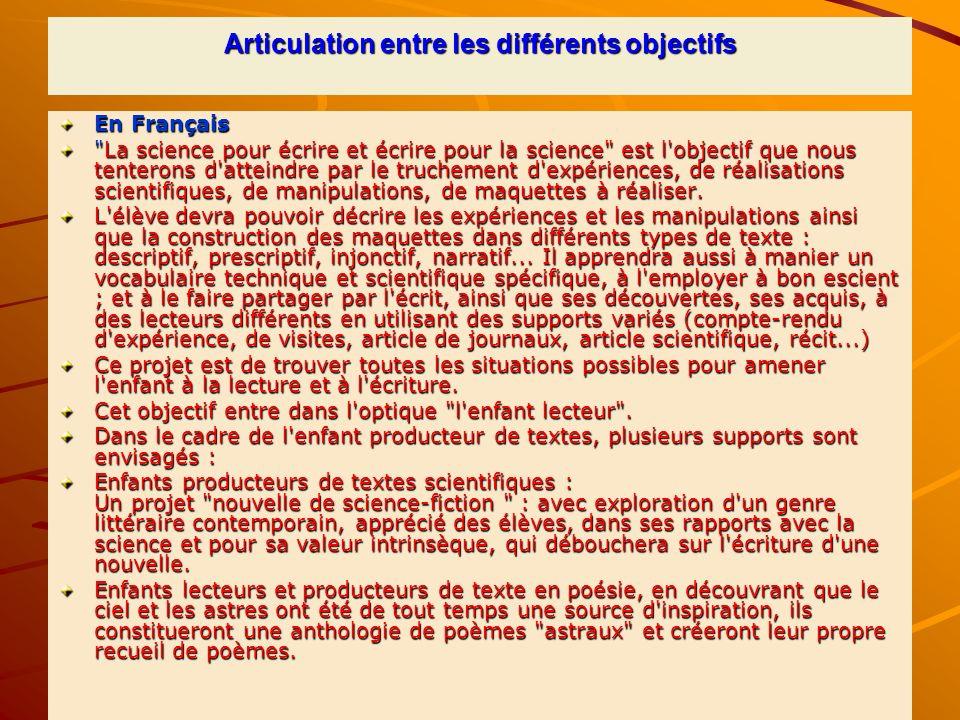 Articulation entre les différents objectifs En Français