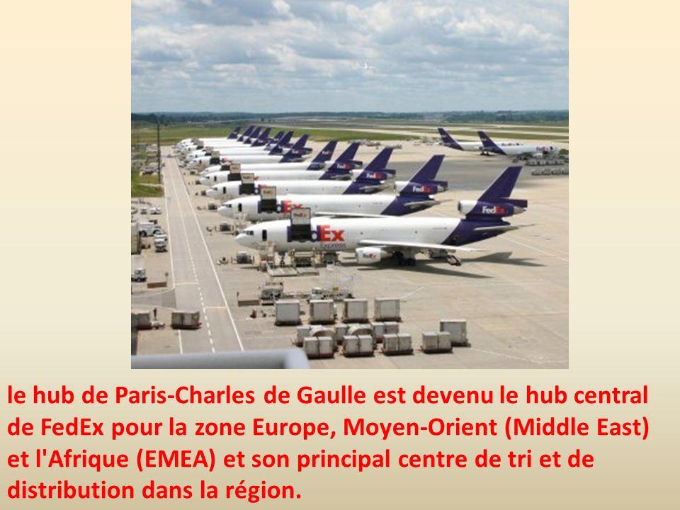 le hub de Paris-Charles de Gaulle est devenu le hub central de FedEx pour la zone Europe, Moyen-Orient (Middle East) et l'Afrique (EMEA) et son princi