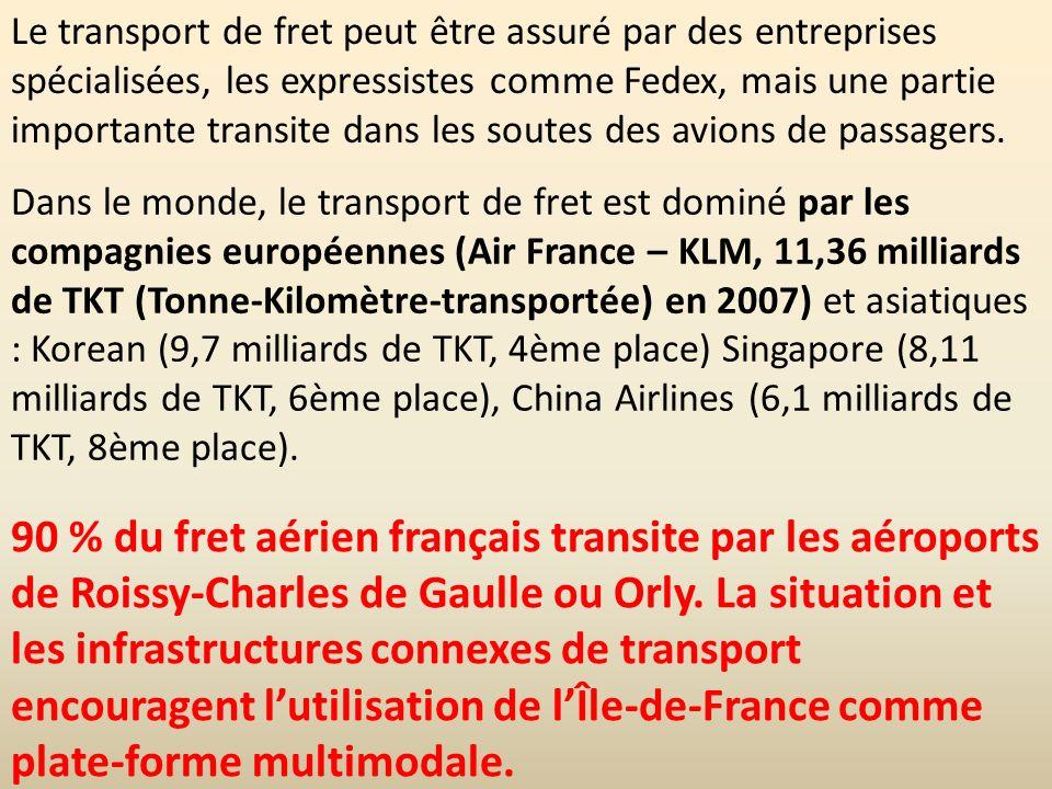 Dans le monde, le transport de fret est dominé par les compagnies européennes (Air France – KLM, 11,36 milliards de TKT (Tonne-Kilomètre-transportée)