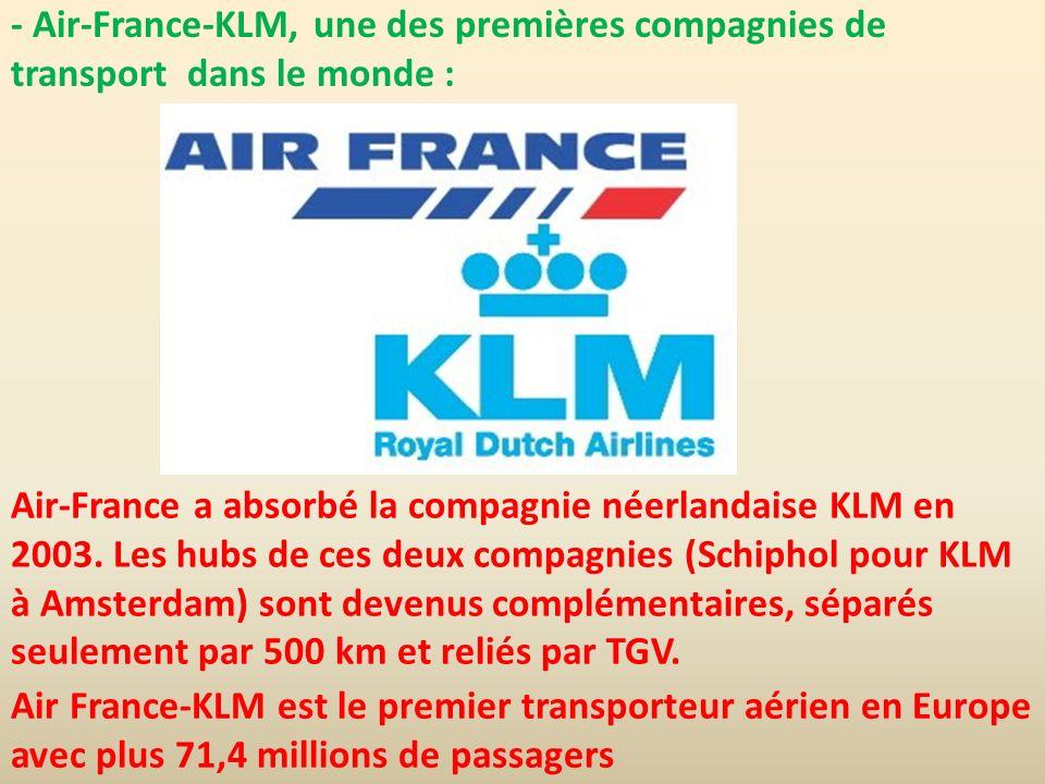 - Air-France-KLM, une des premières compagnies de transport dans le monde : Air-France a absorbé la compagnie néerlandaise KLM en 2003. Les hubs de ce