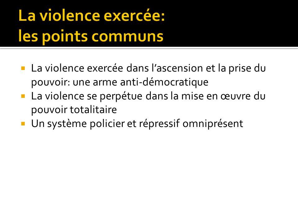 La violence exercée dans lascension et la prise du pouvoir: une arme anti-démocratique La violence se perpétue dans la mise en œuvre du pouvoir totali